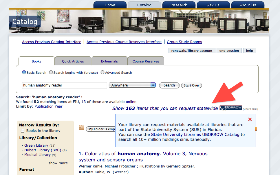 Search Result Screen from the Library Catalog