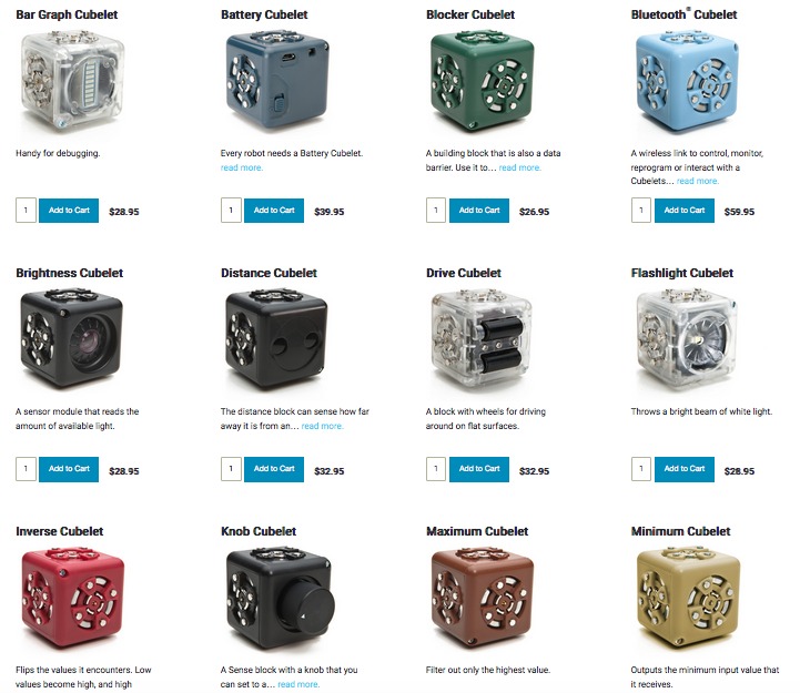 A variety of cubelets available from the Modular Robotics website.